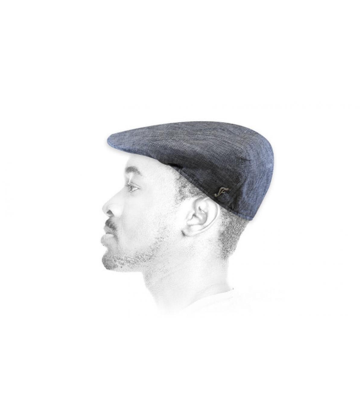 organische linnen grijze baret