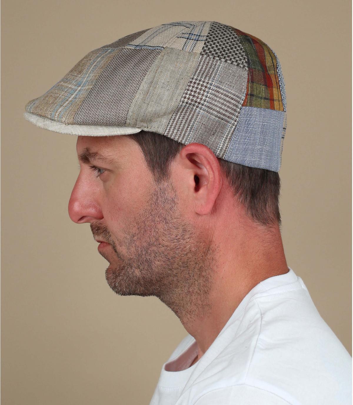 beige linnen patchwork baret
