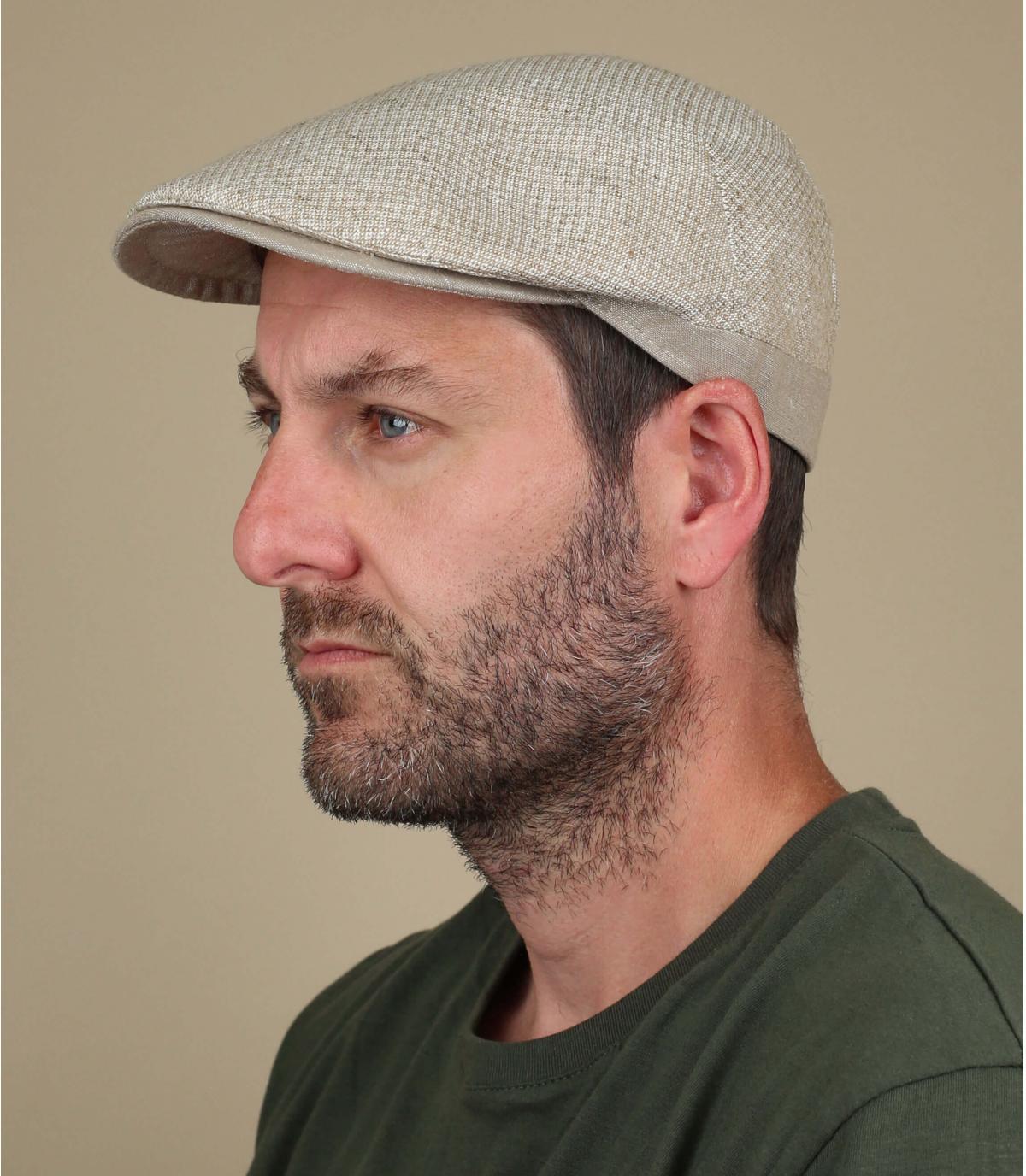 katoen linnen beige baret