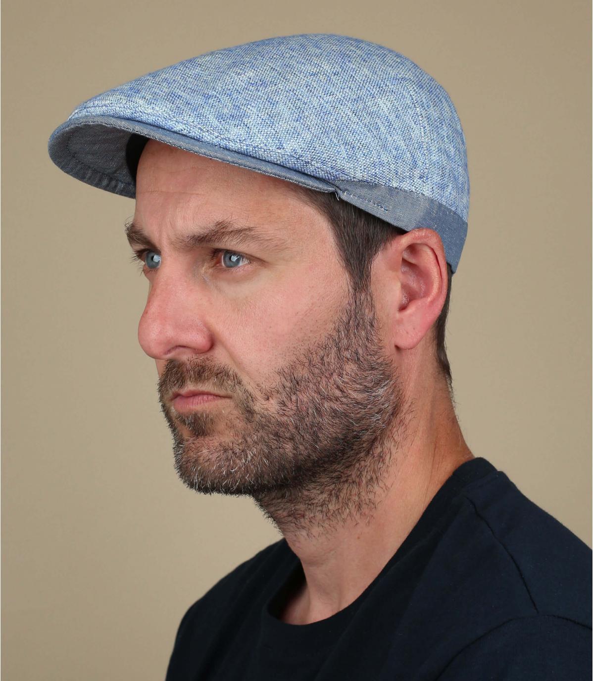katoen linnen blauwe baret