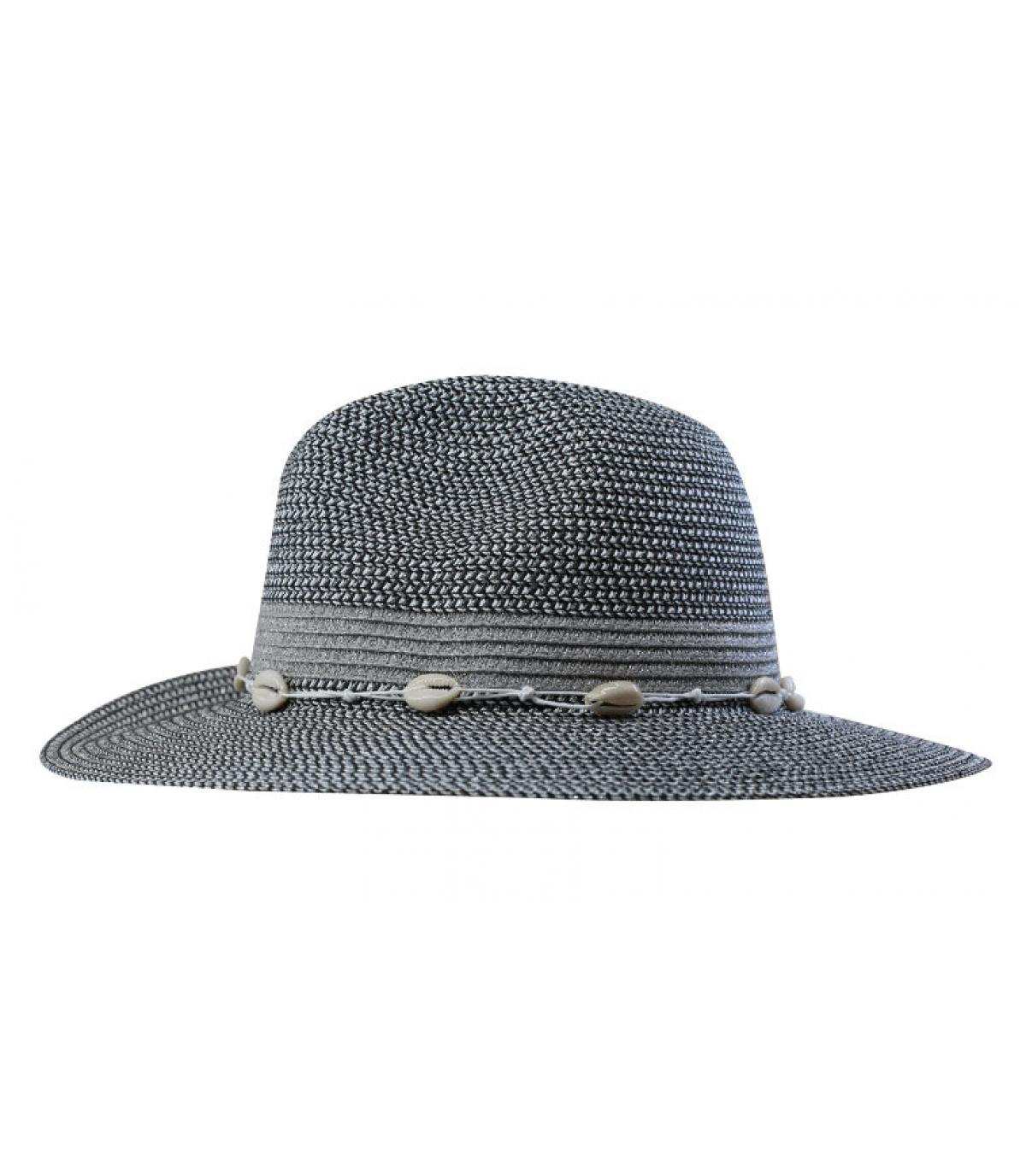 cappello di paglia a strisce argentate