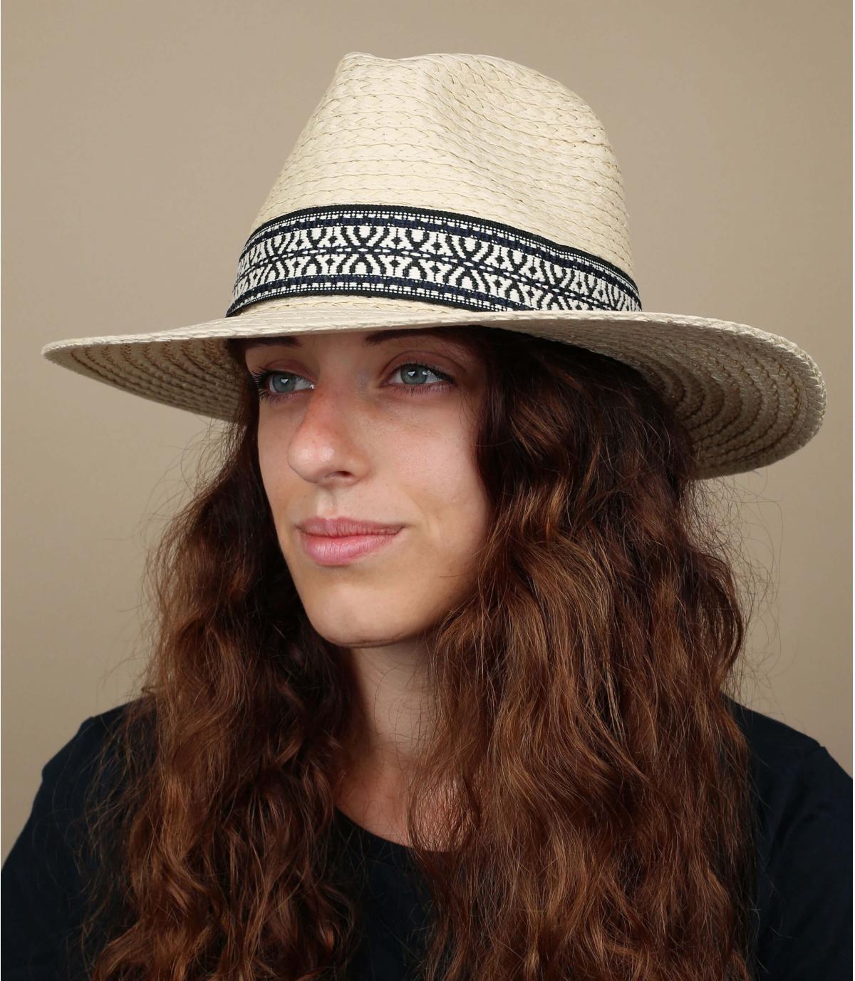 cappello di paglia geometrico