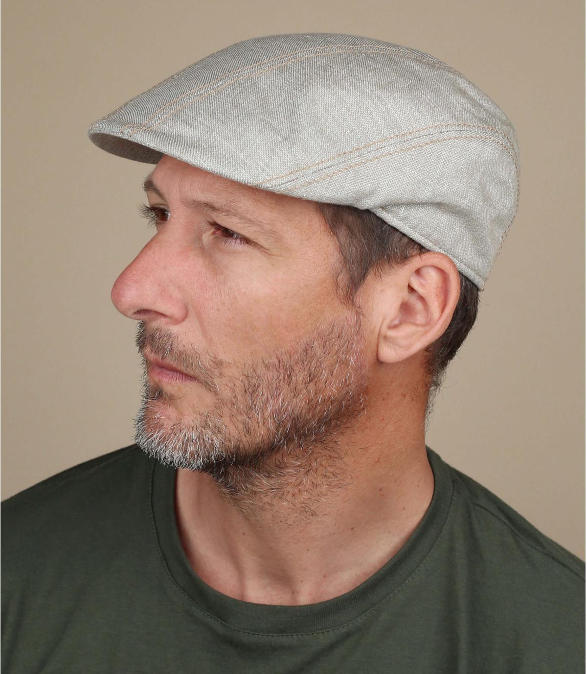 beige linnen katoenen baret
