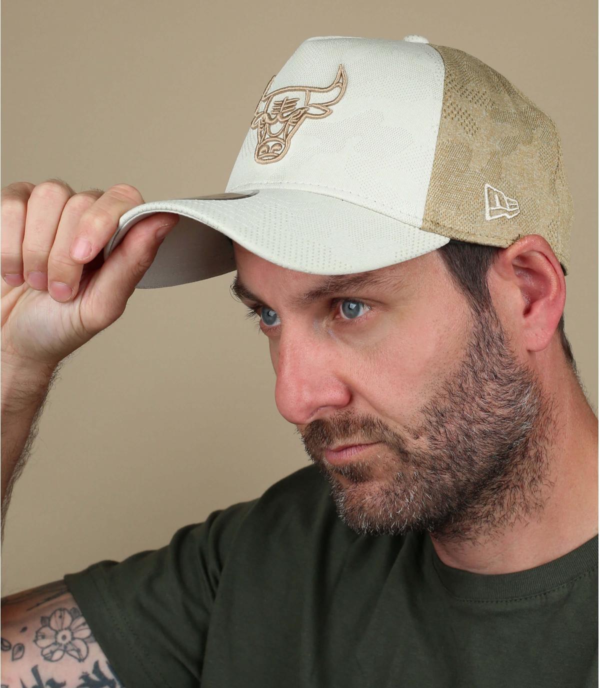 beige Bulls trucker