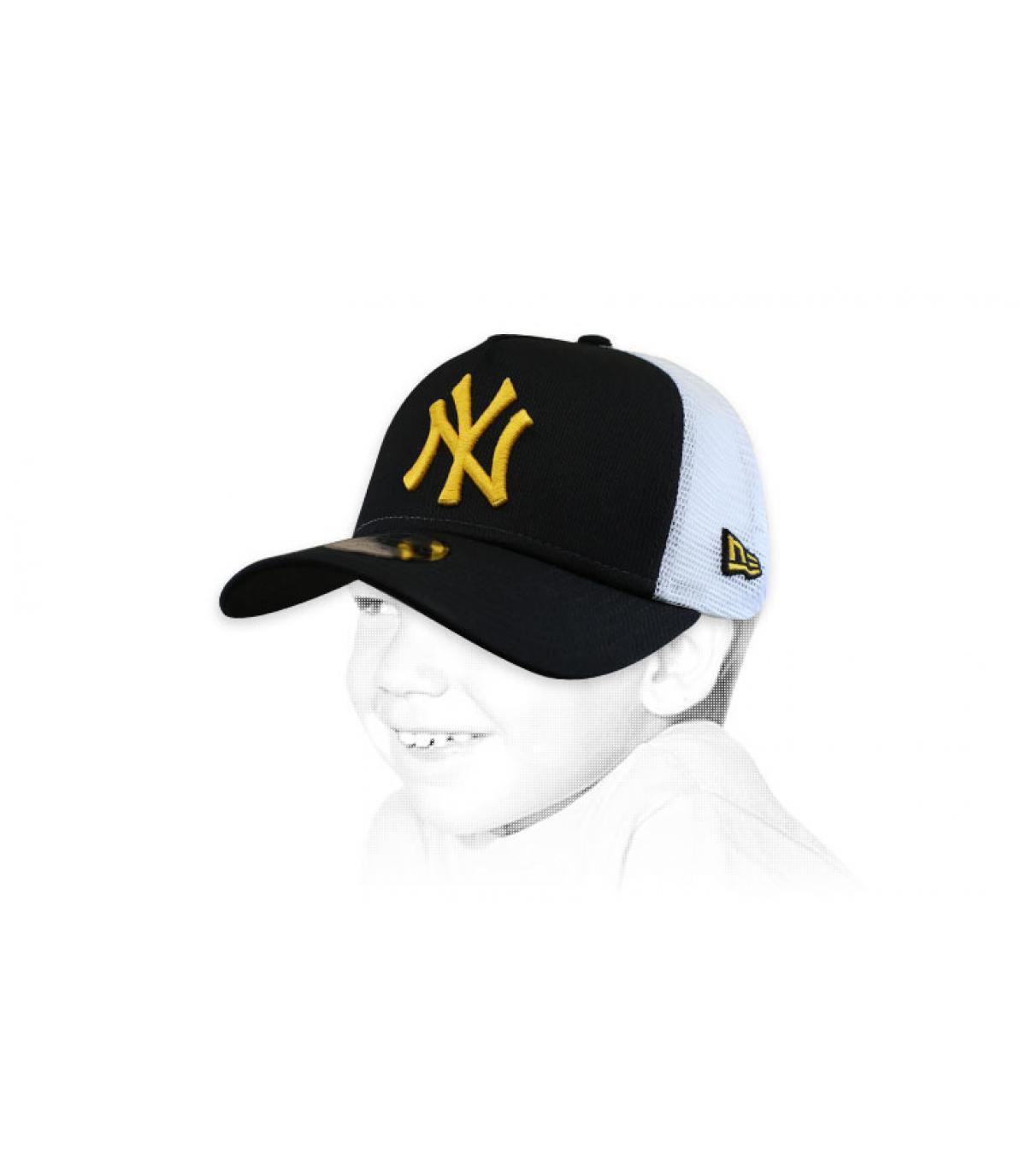 NY zwart-gele trucker voor kinderen