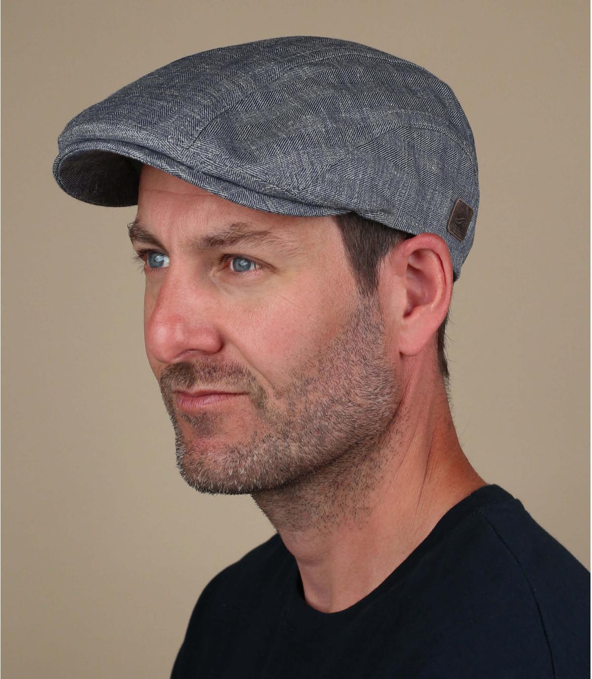 grijze linnen baret