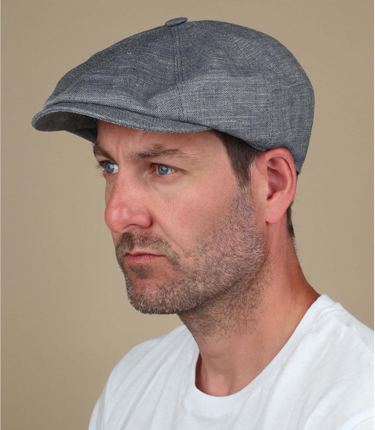 linnen grijze krantenverkoper baret
