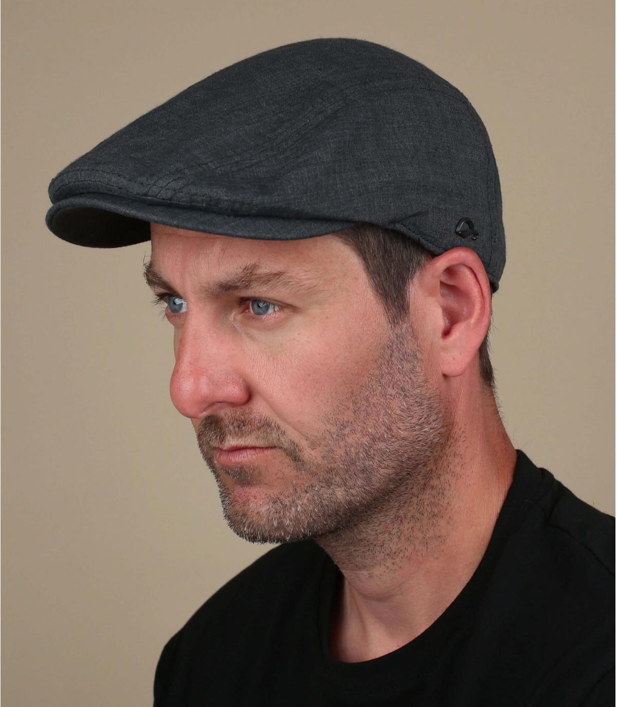 linnen grijze baret