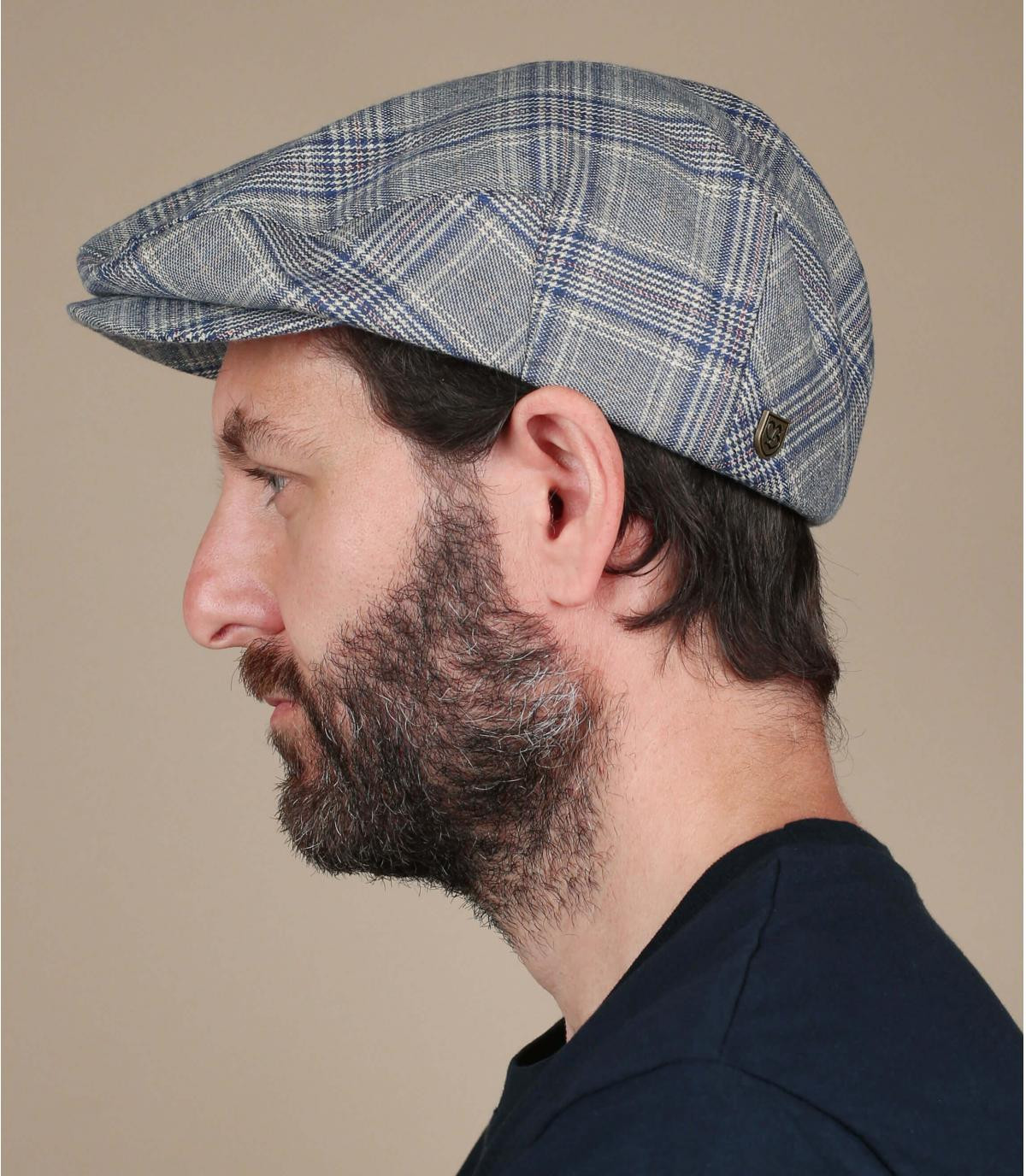 Brixton blauw geruite baret
