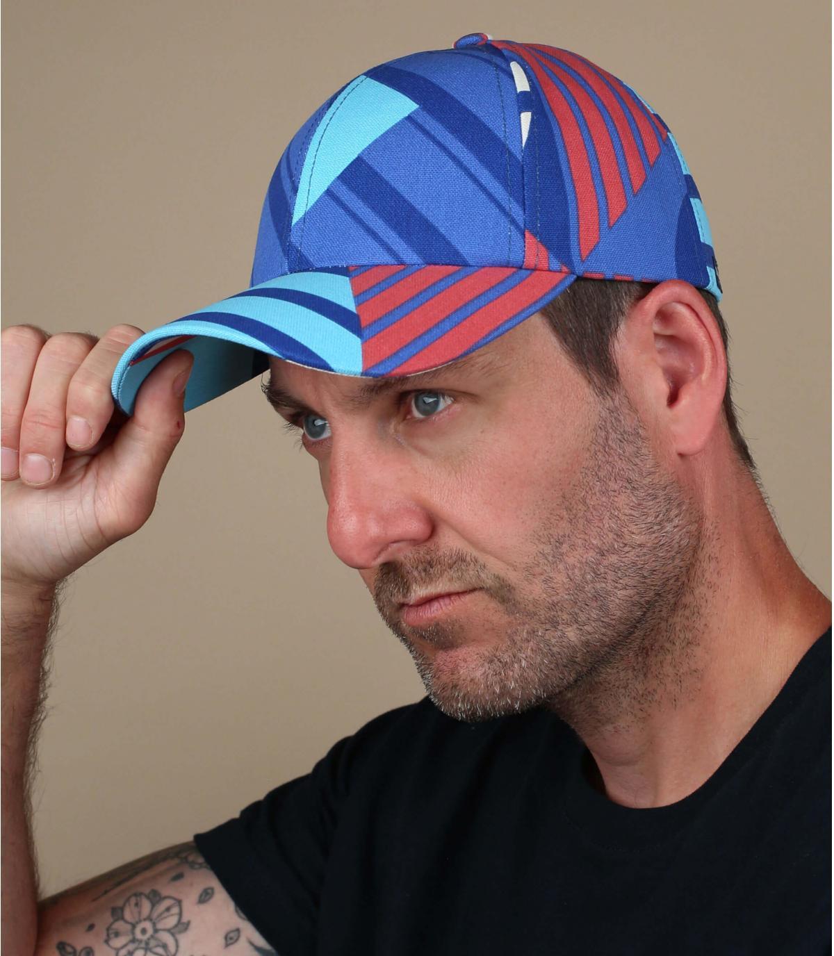 blauw gestreepte cap