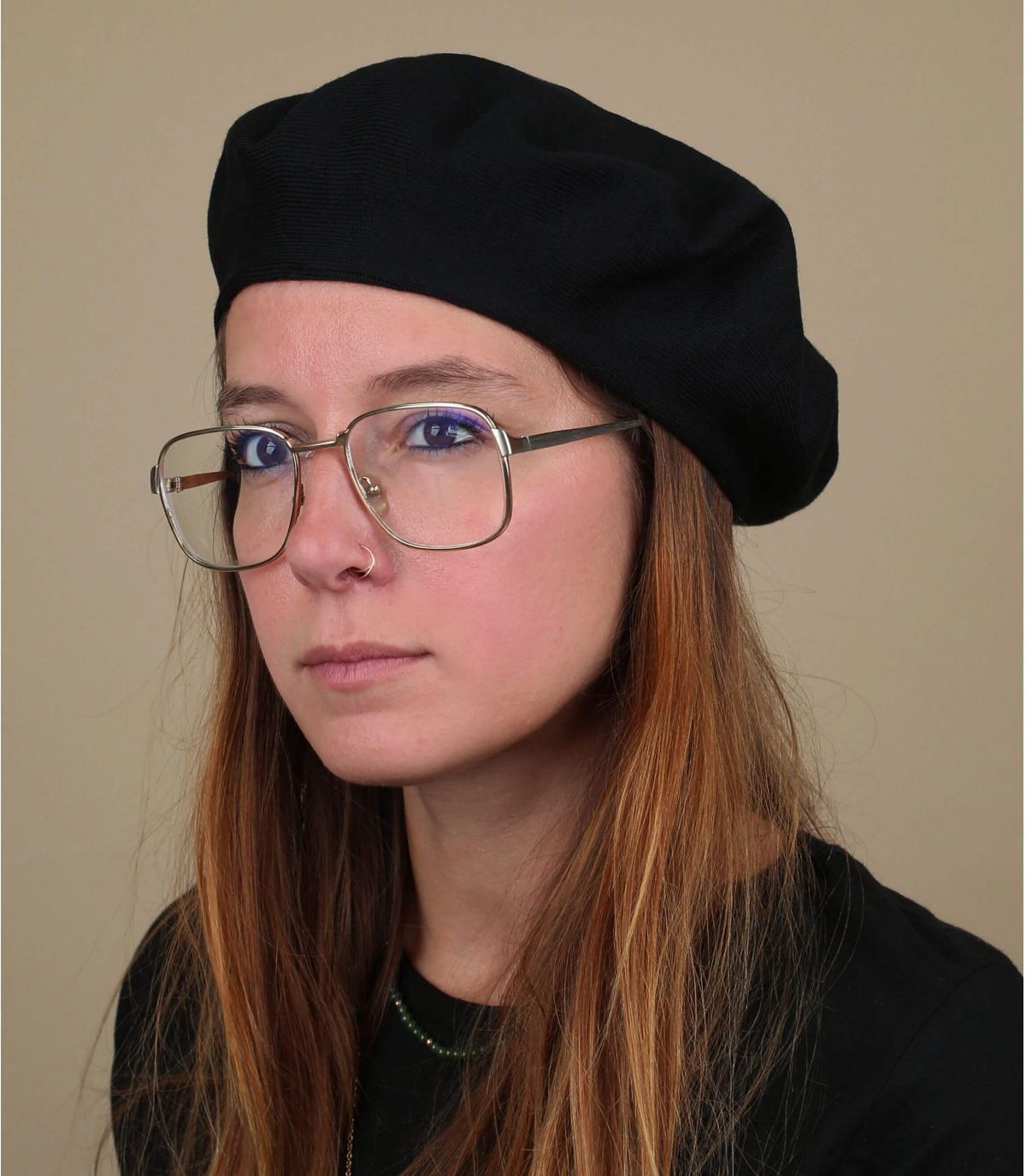 zwarte katoenen baret