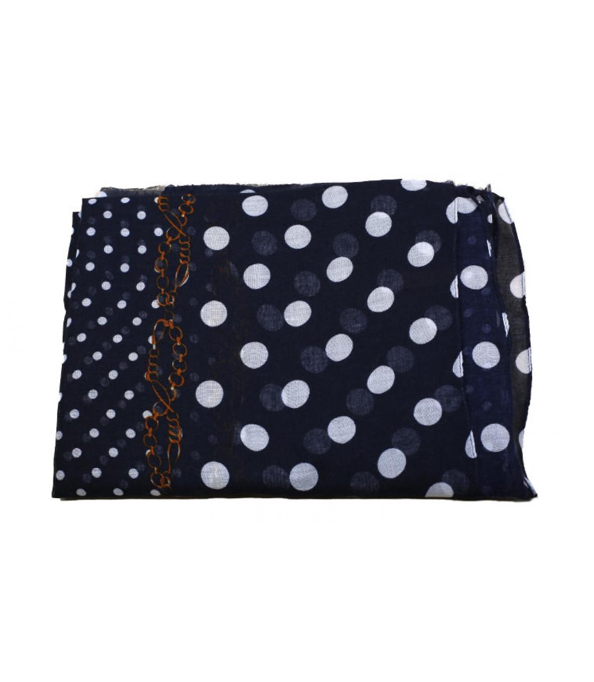 blauw witte polka dot sjaal