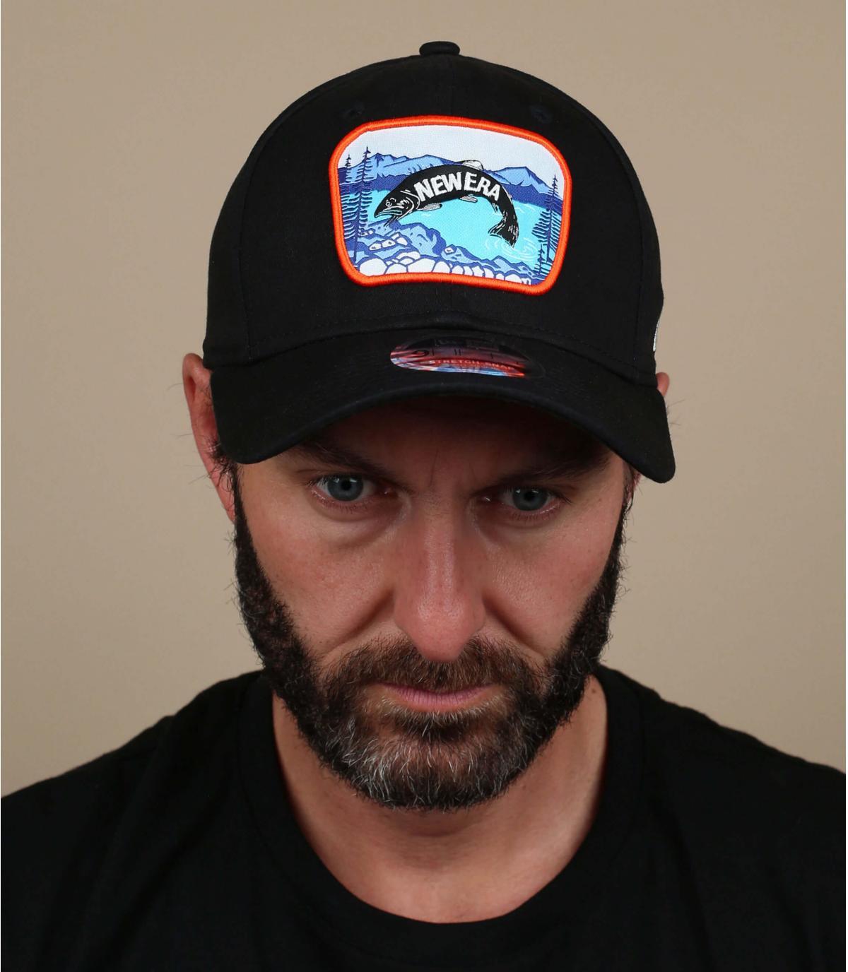 zwarte vis patch cap