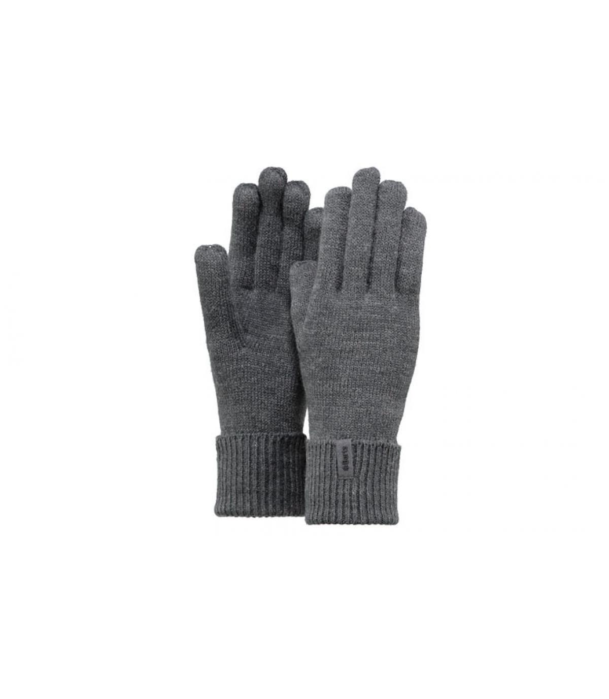 Details Fijne gebreide handschoenen donkergrijs - afbeeling 3