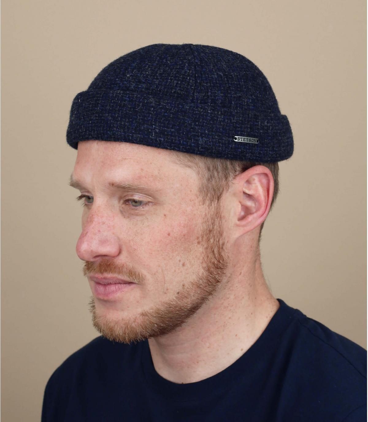wol blauwe docker hoed