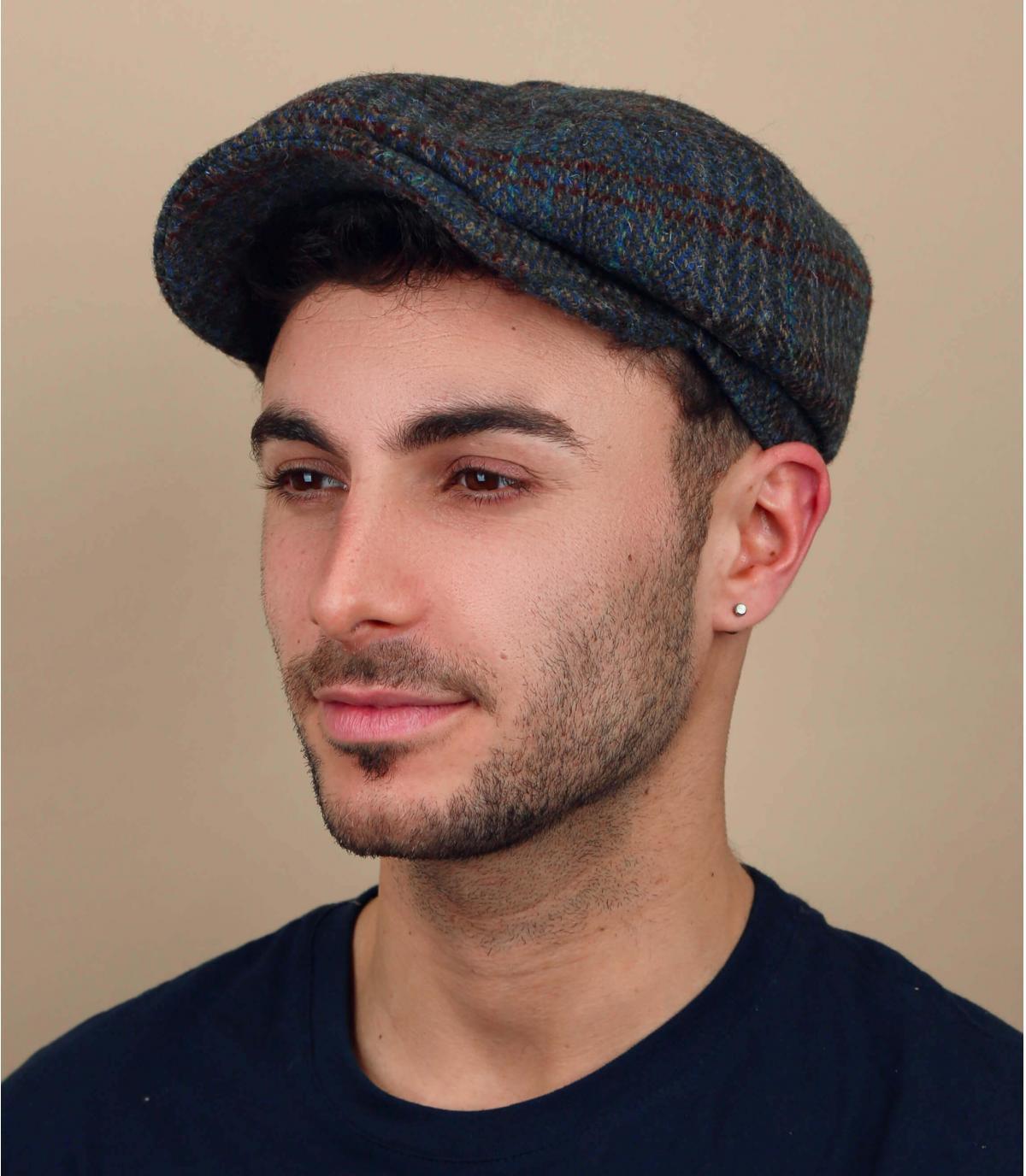 Harris tweed groene krantenverkoper baret