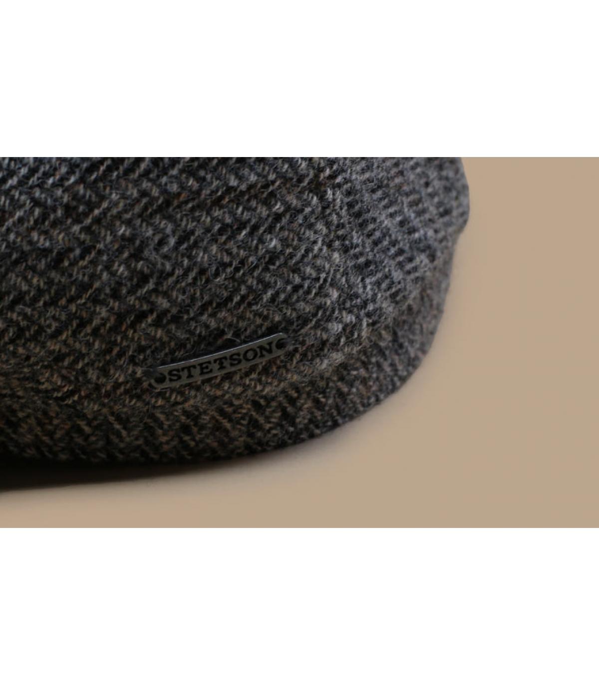 Details Driver Cap Virgin Wool Herringbone grey - afbeeling 3