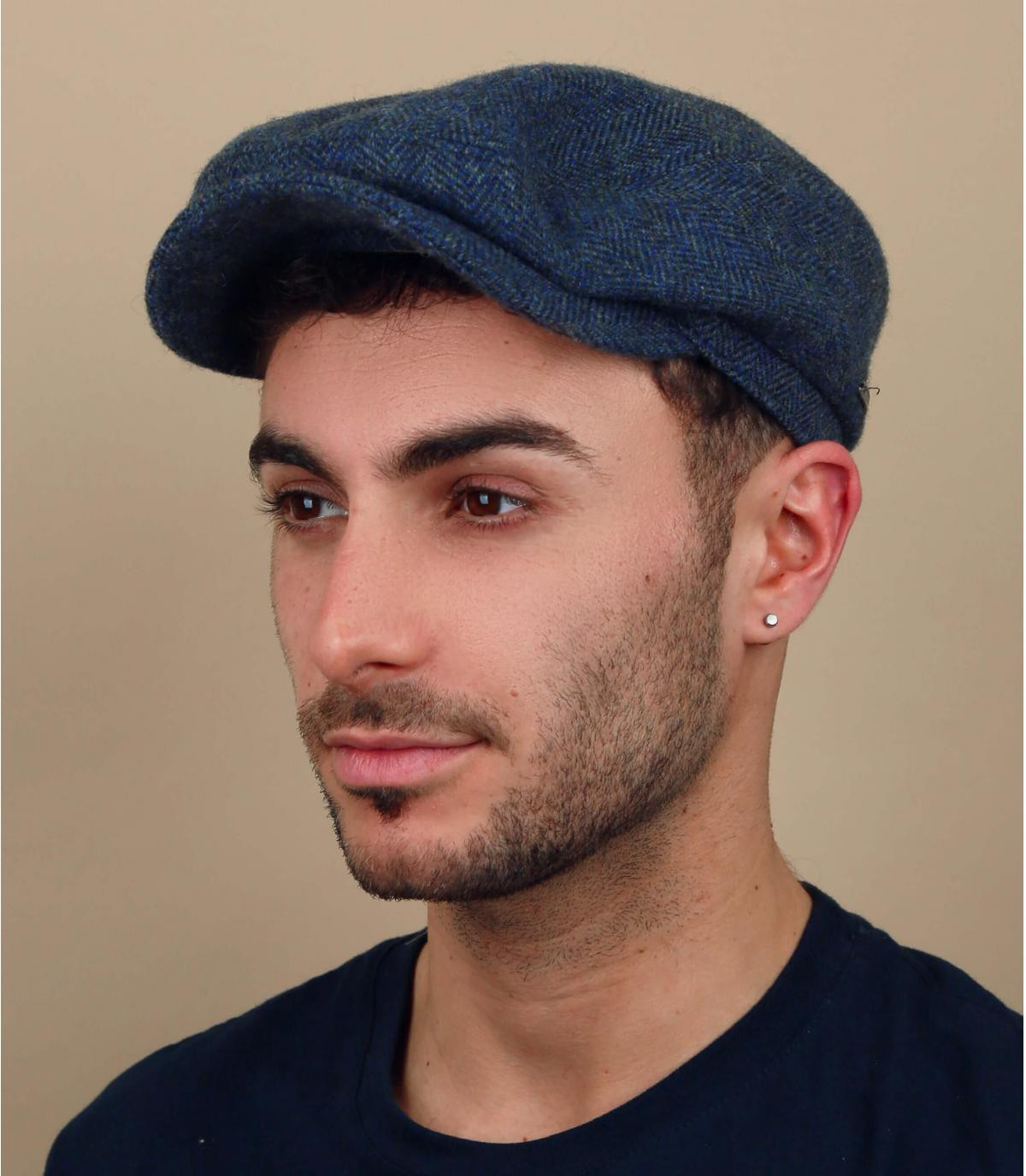 blauwe chevron wollen baret