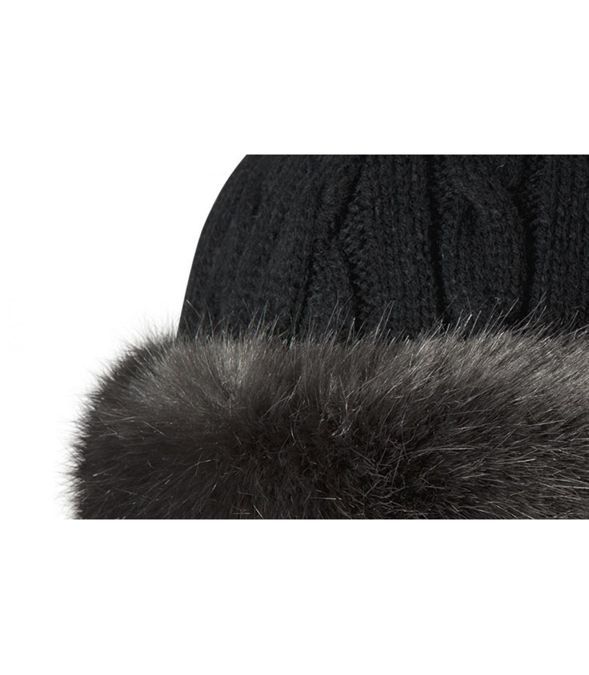 Details Bont hoed met kabelband grijs - afbeeling 2