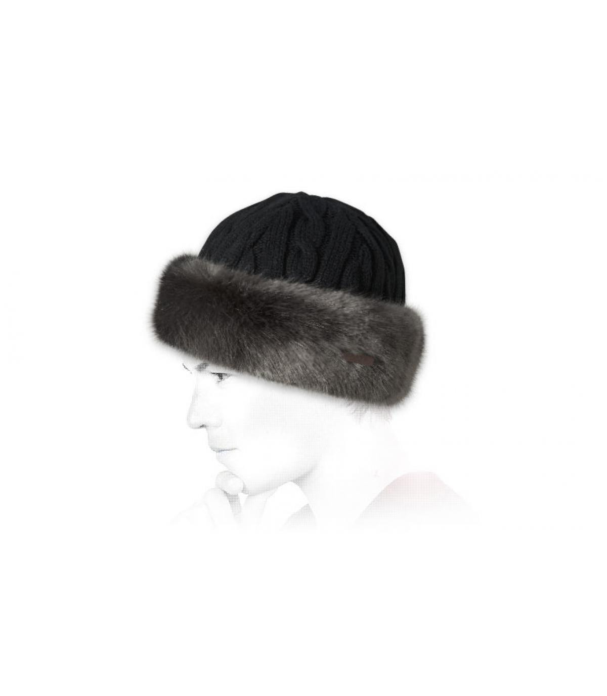 Details Bont hoed met kabelband grijs - afbeeling 3