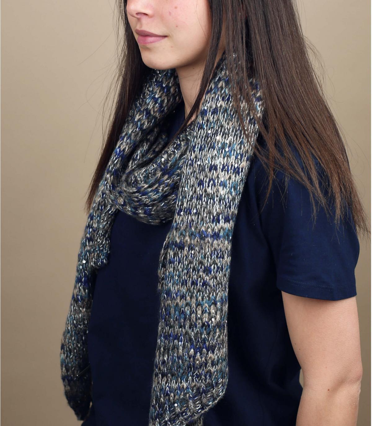 blauw grijze patroon sjaal