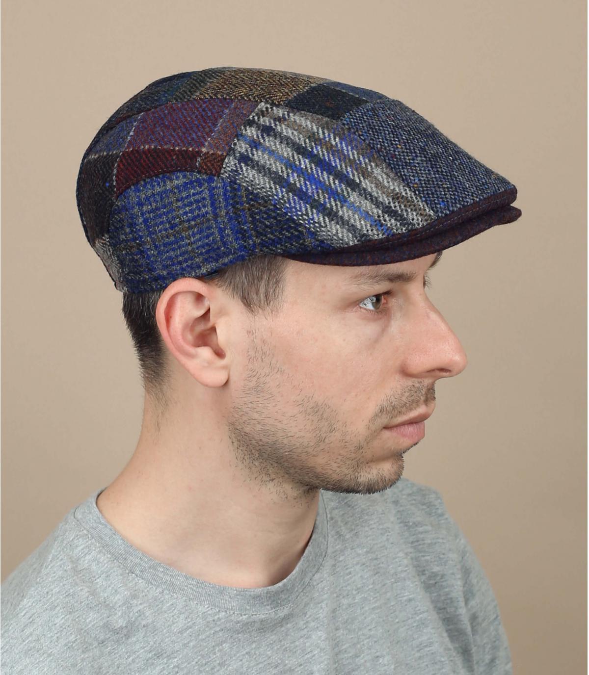 blauwe wollen patchwork baret