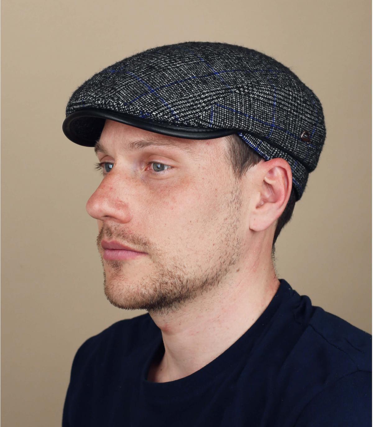blauwe wol geruite baret