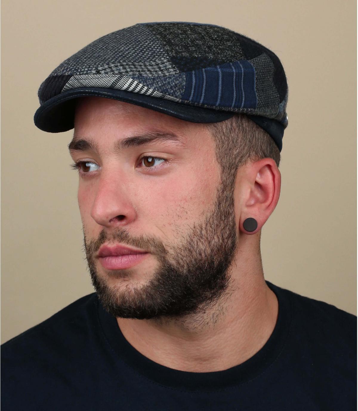 wol blauw grijze baret