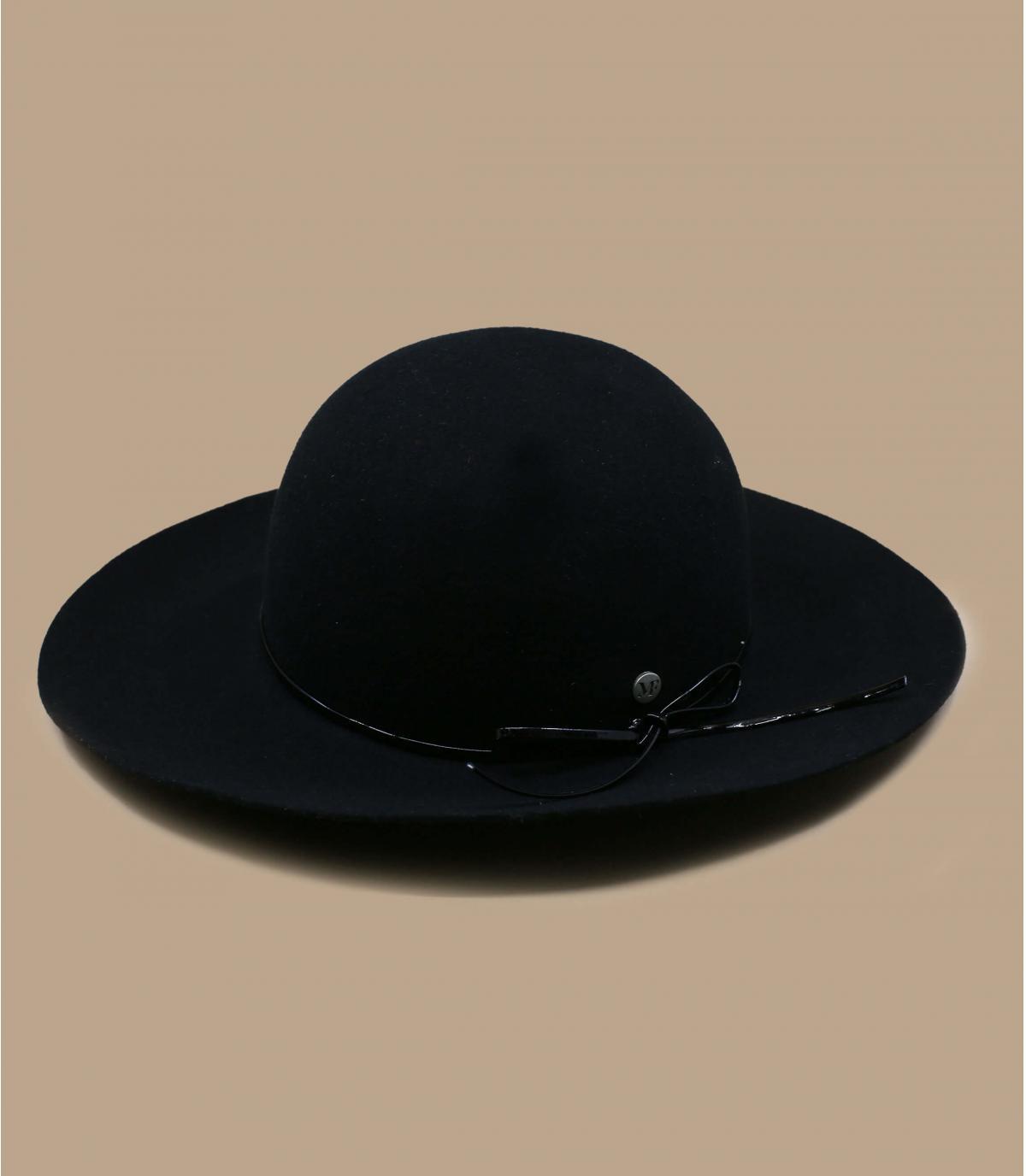 opvouwbare zwarte vilten hoed