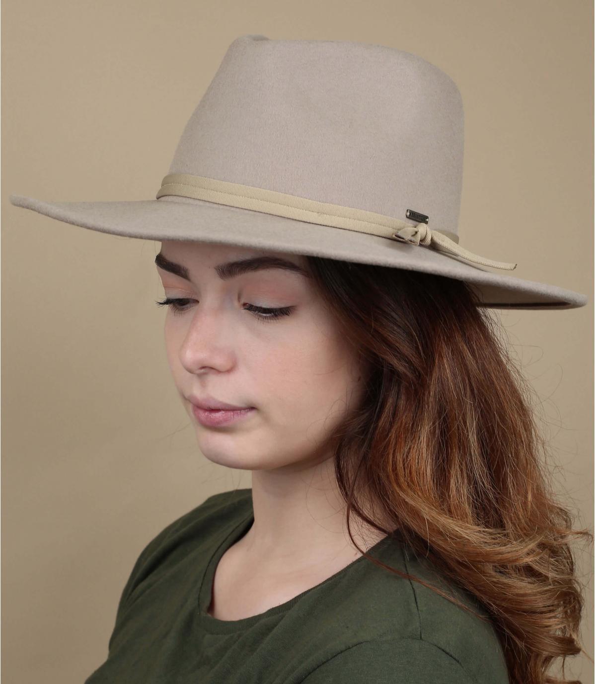 Beige opvouwbare vilten hoed