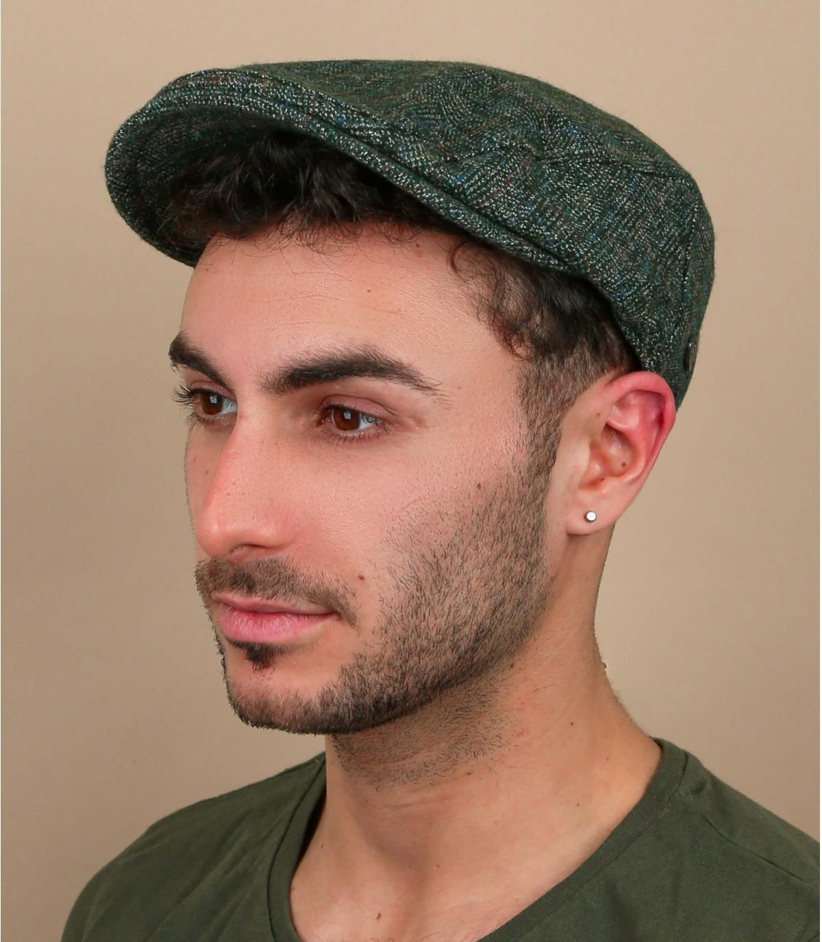 groen geruite baret