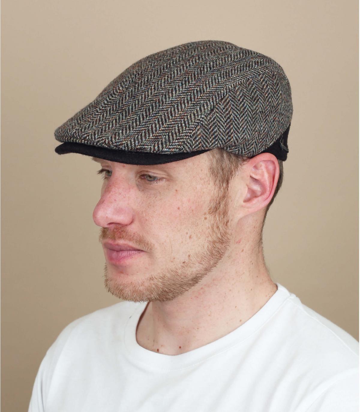 wollen chevron bruine baret