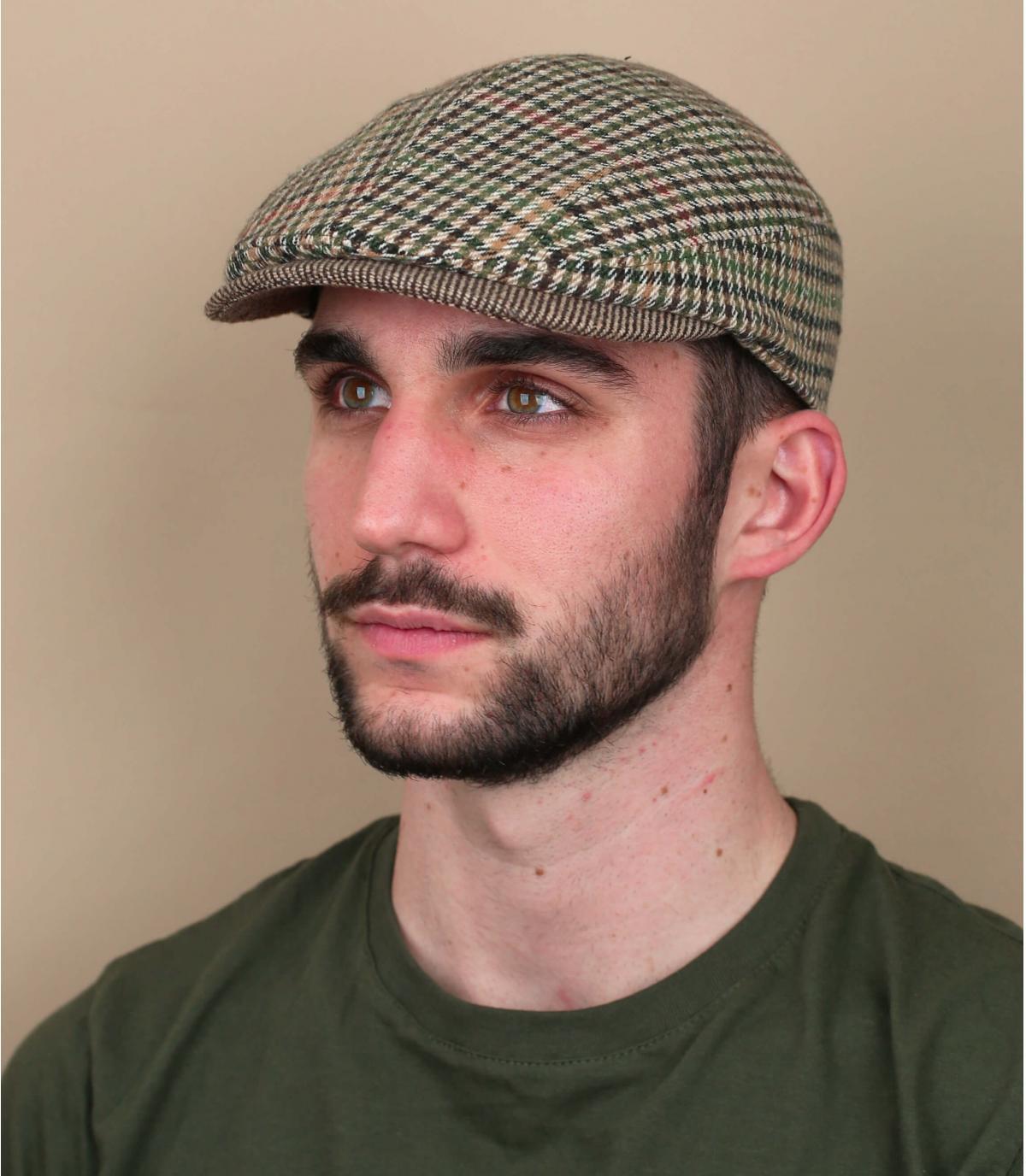Houndstooth beige baret