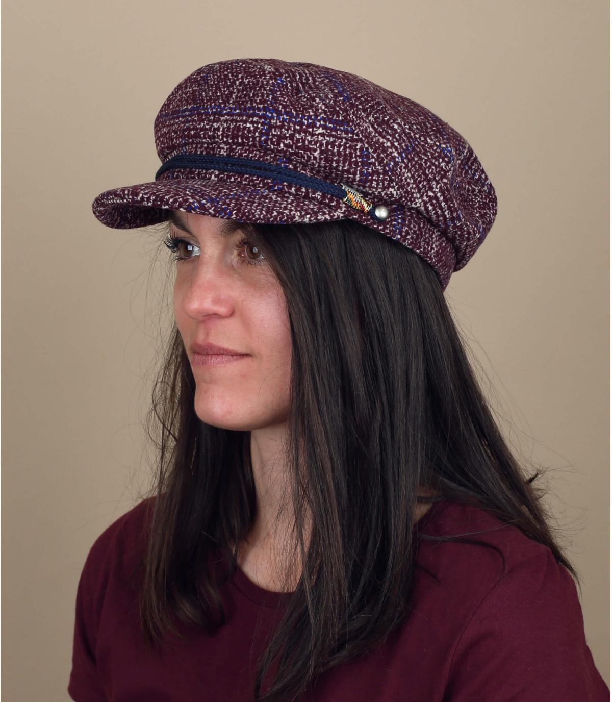 roze geruite baret voor dames