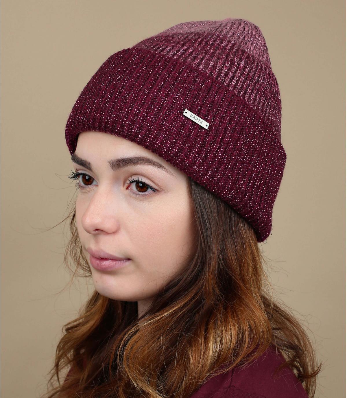 bordeaux gestreepte hoed
