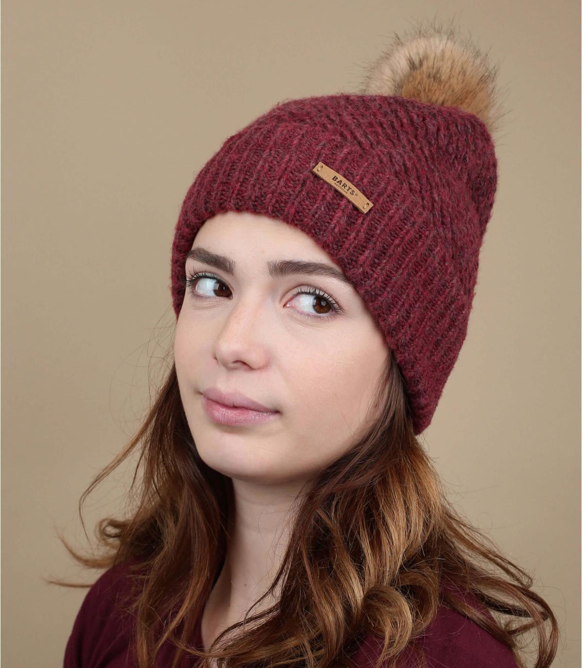 bordeaux hoed met pompon