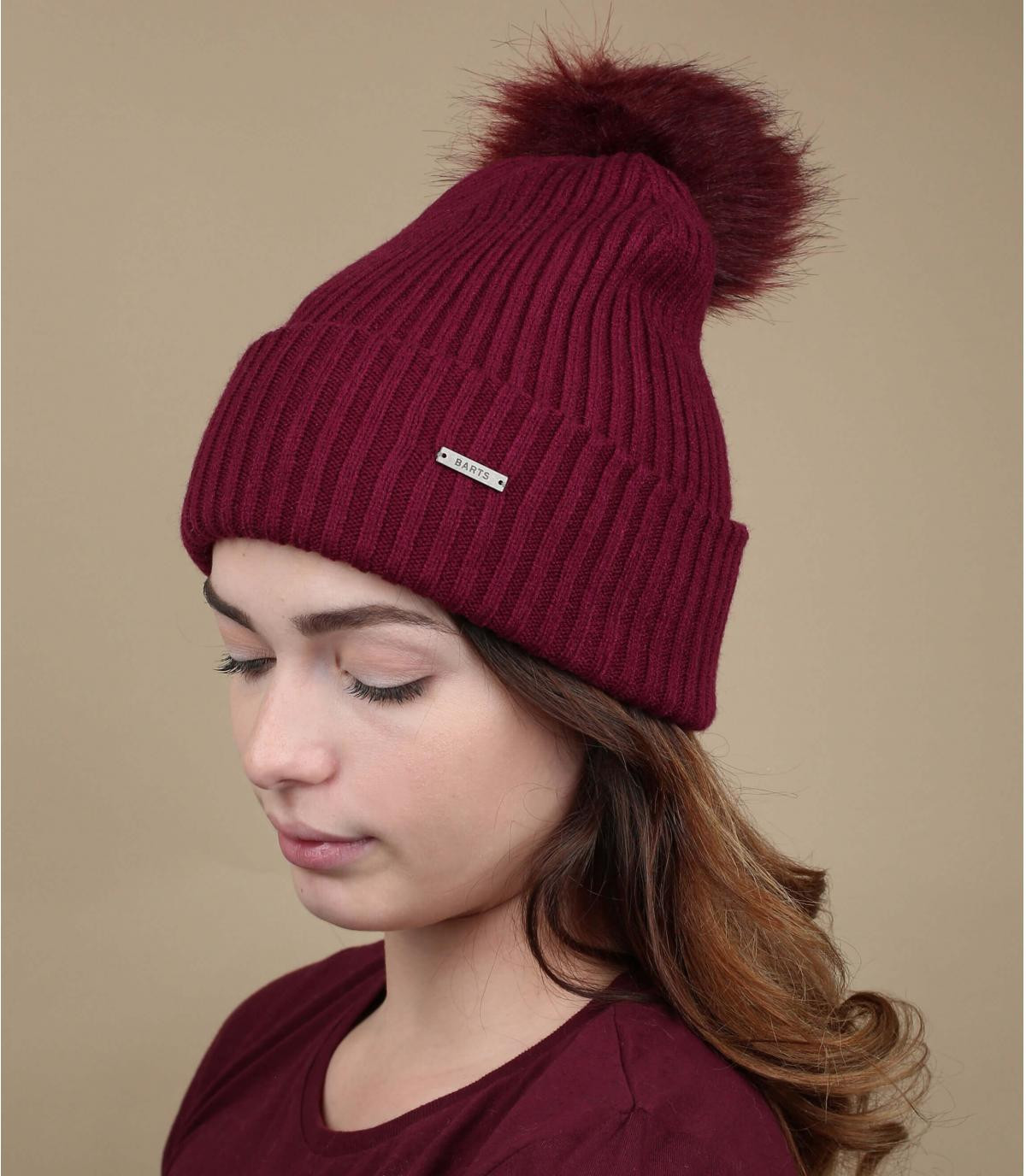 bordeaux pompon hoed