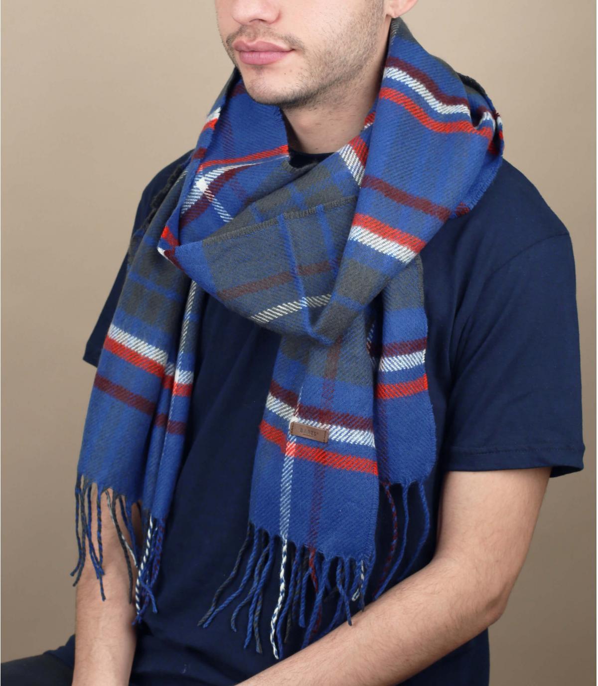 blauwe sjaal met franjes