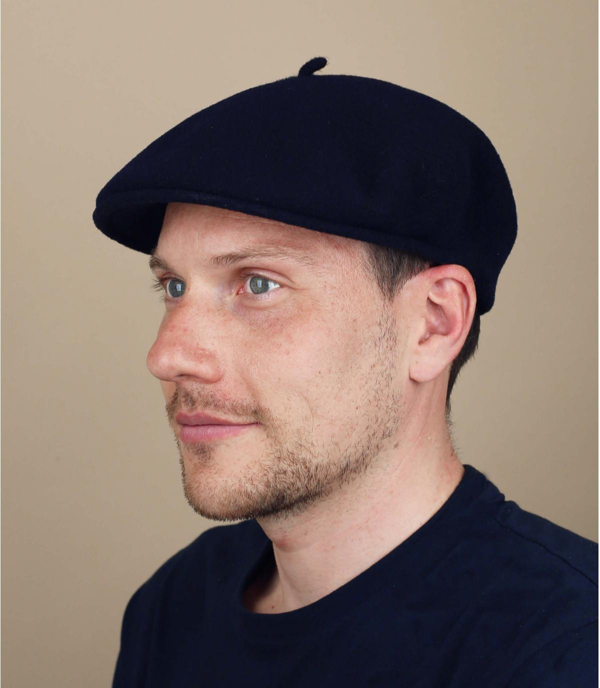 Laulhère blauwe merino baret