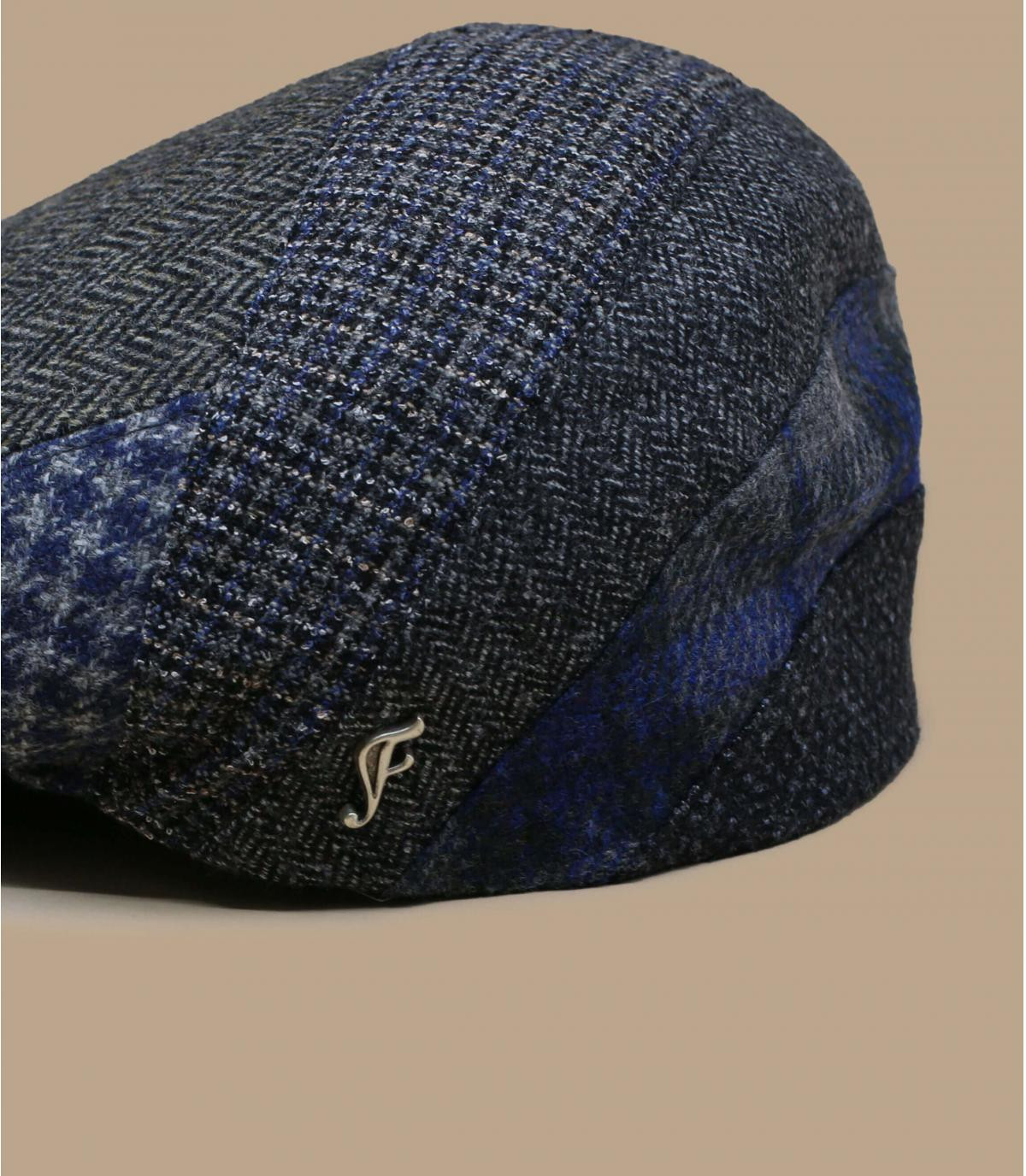 grijze wol visgraat baret