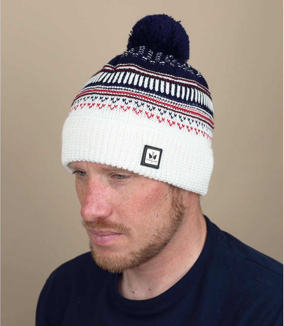 wit blauwe pompon hoed