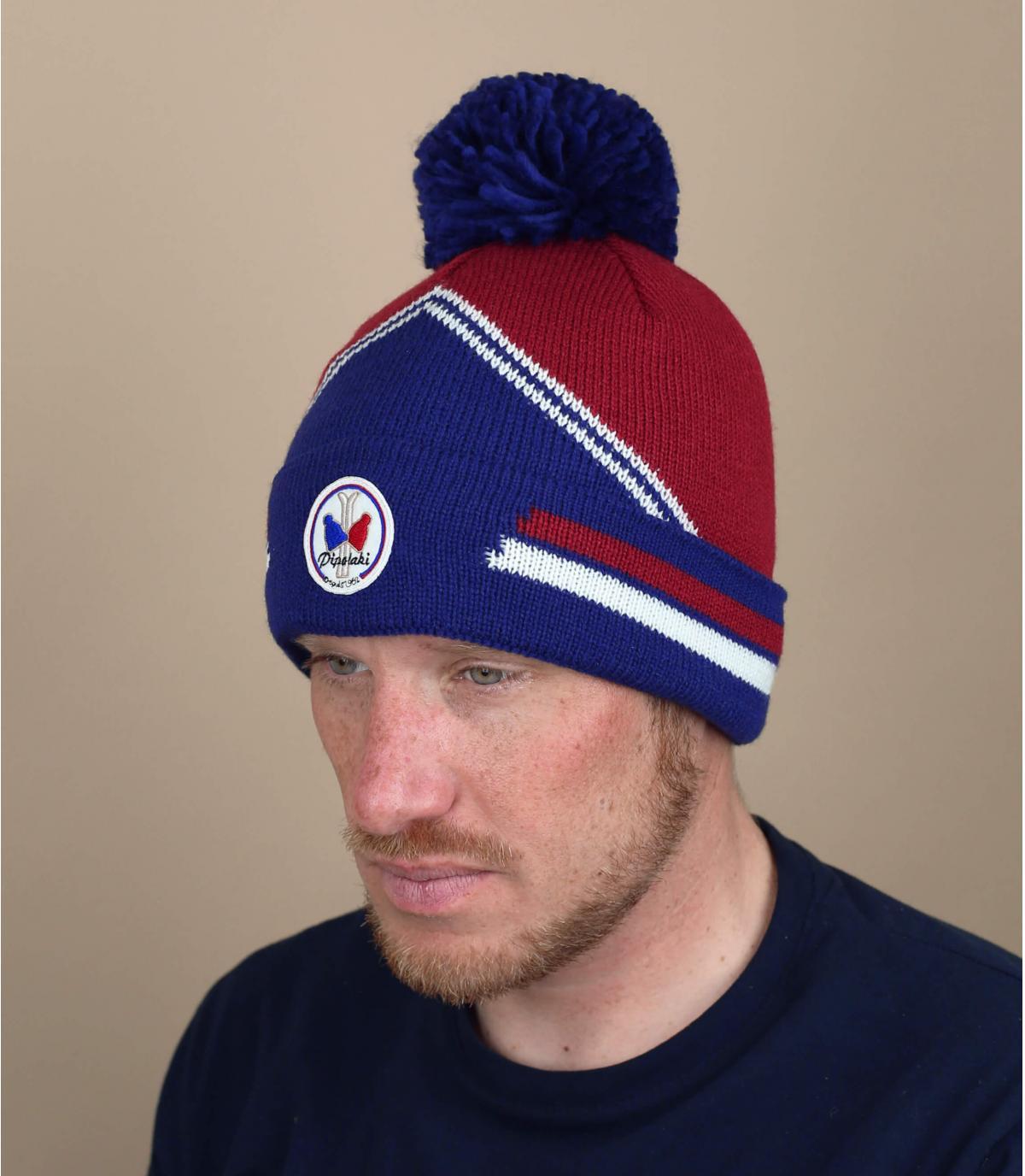 bordeaux blauwe ski-hoed