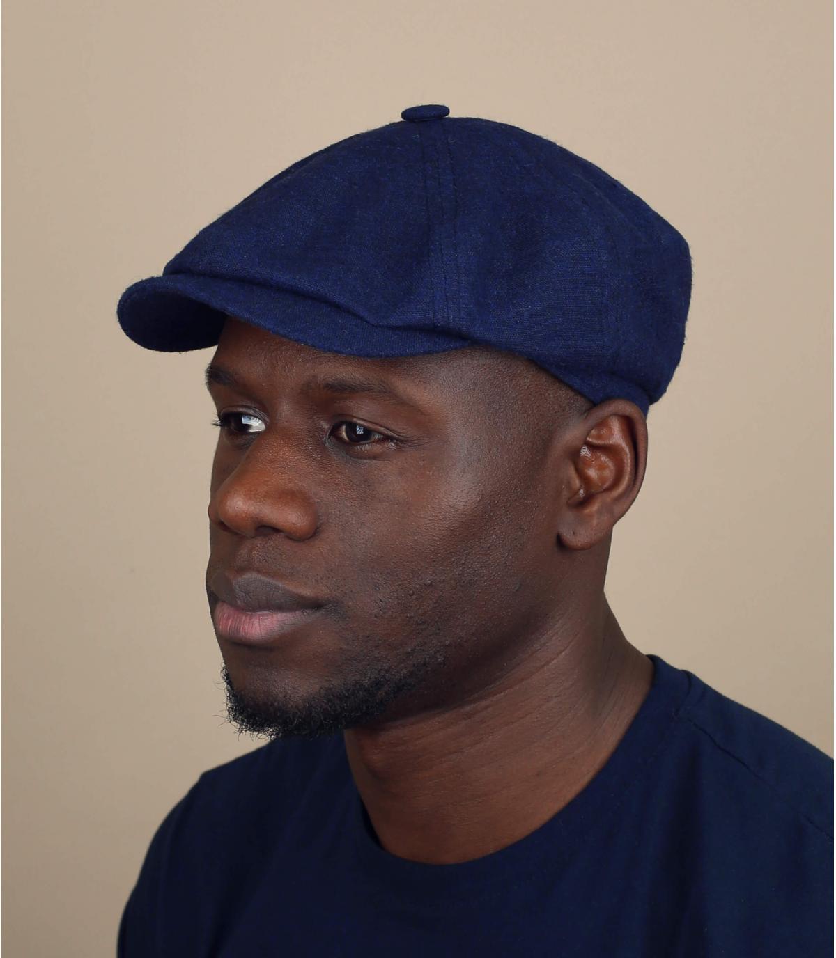 Krantenjongens baret in blauw linnen