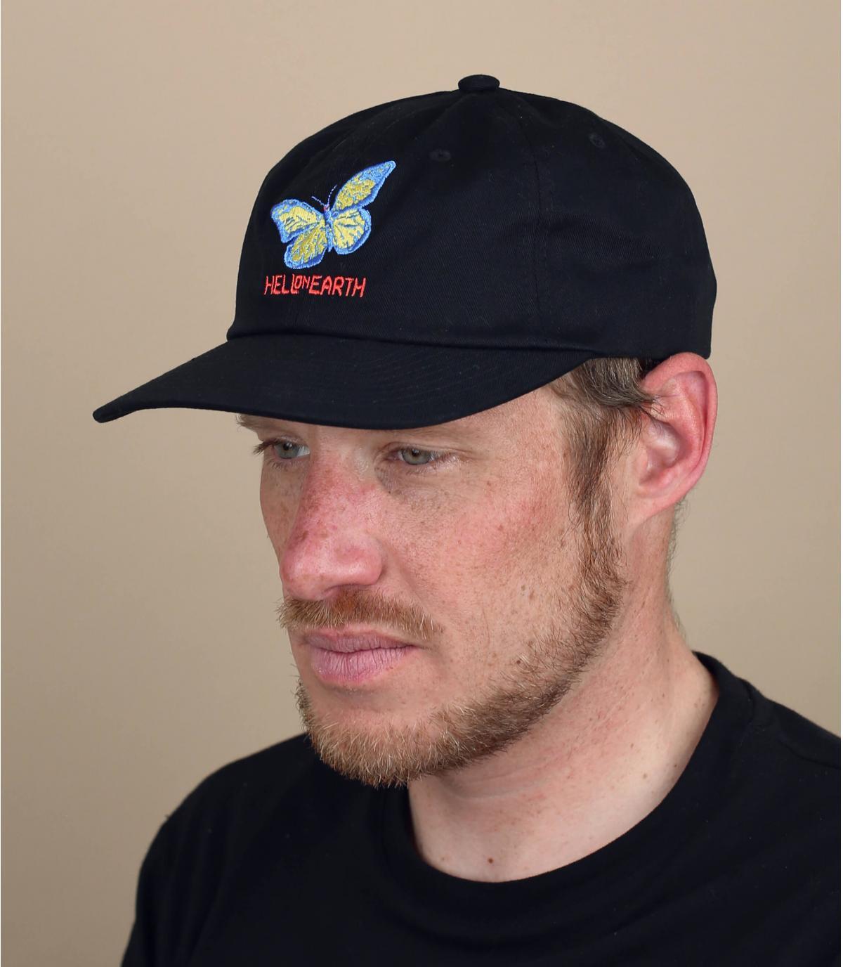 Obey zwarte vlinder cap