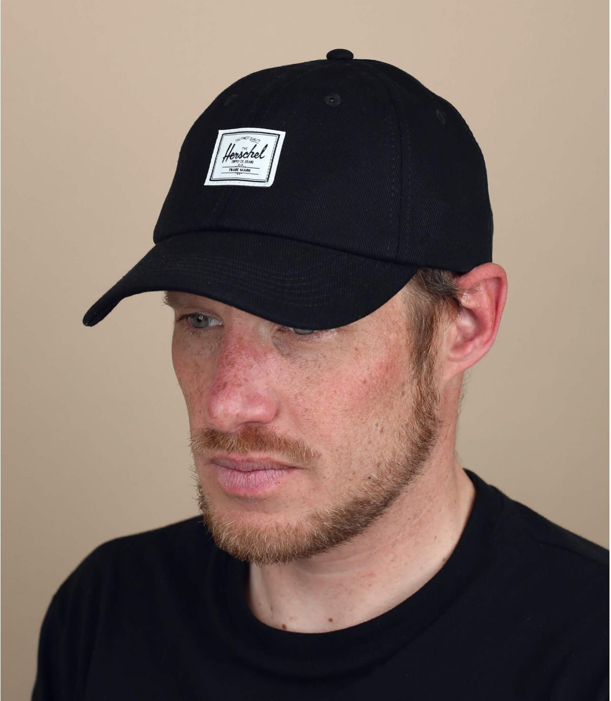 herschel zwarte denim cap