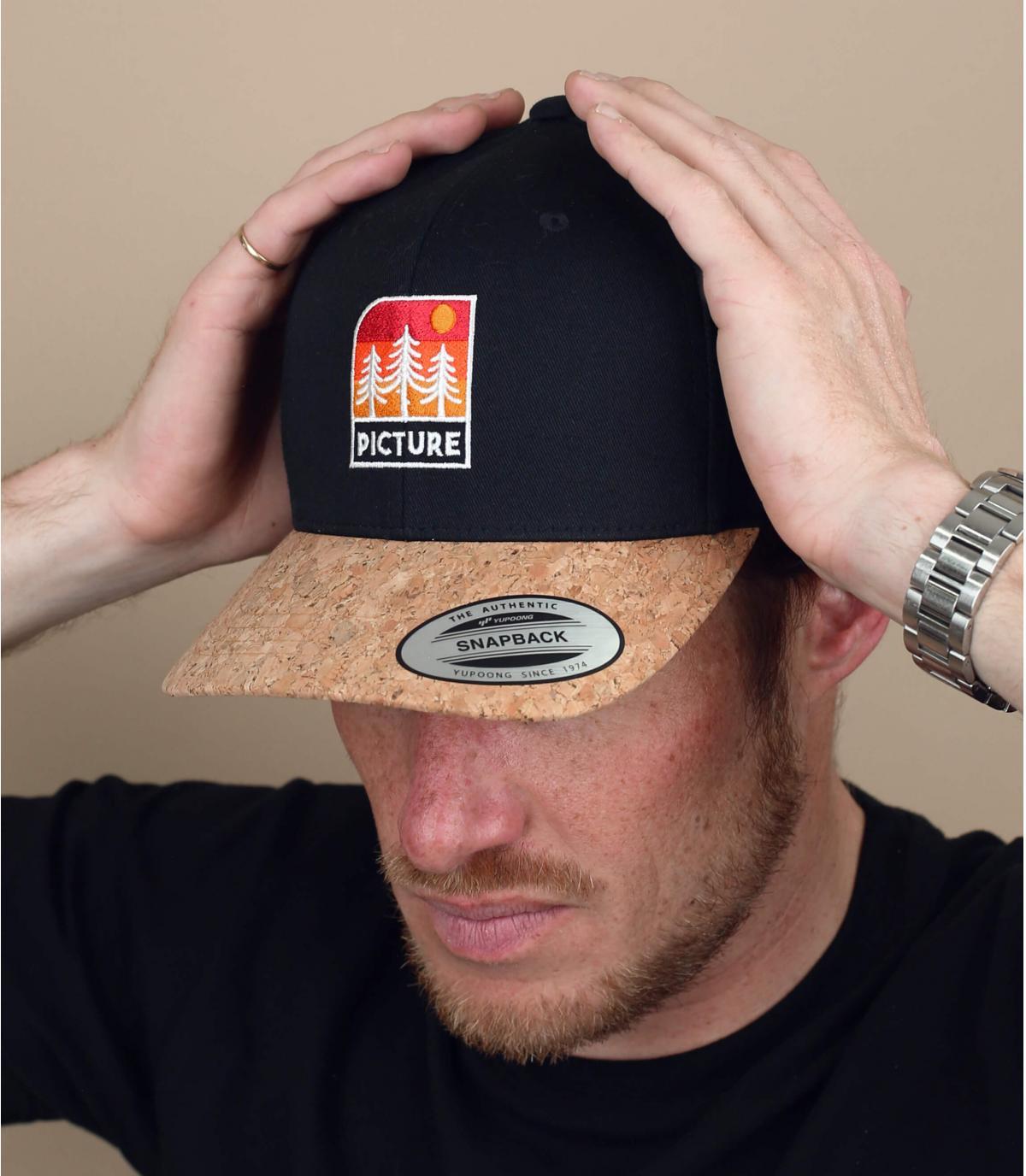 Picture zwarte patch cap