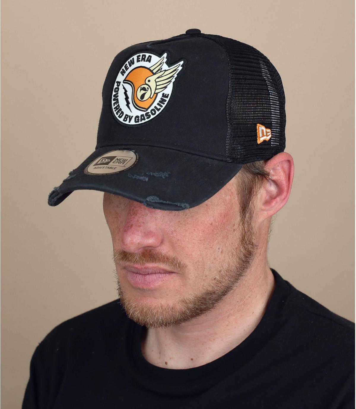 trucker patch zwarte helm
