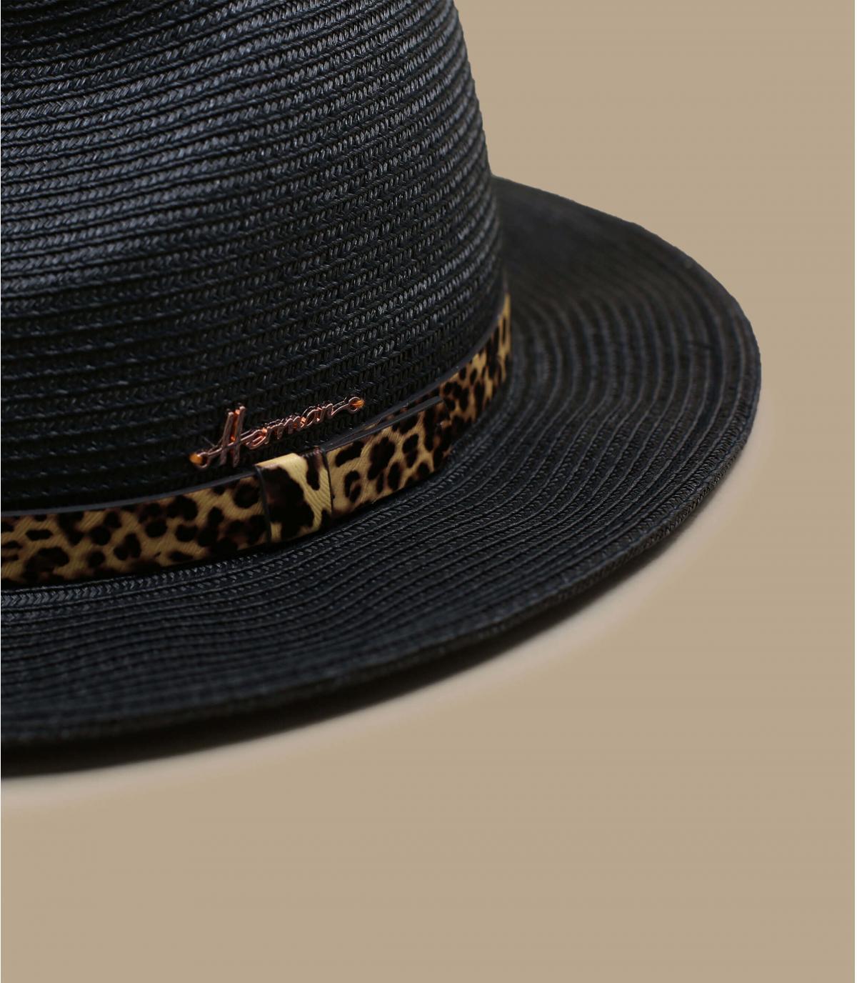 panterzwarte strooien hoed