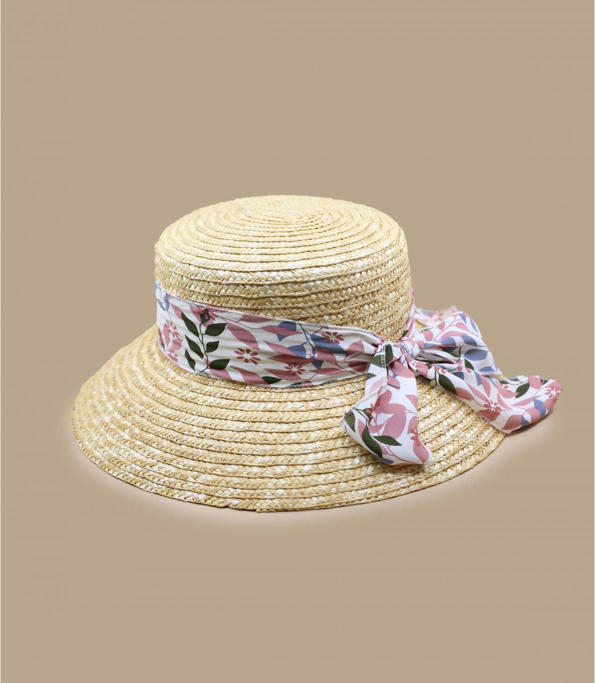 strohoed roze sjaal