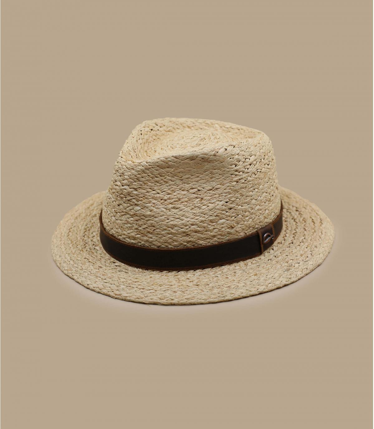 raffia hoed met leren riem